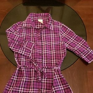 **3/10* Faded Glory Purple Plaid Button Down shirt